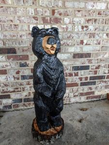 Cartoon black bear chainsaw carving1