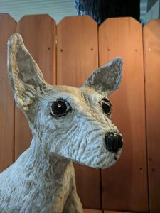 Chihuahua dog face chainsaw wood carving 2