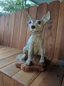 Chihuahua dog sitting chainsaw wood carving6
