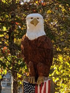 Eagle perched on flag Wood Carved Creations.com 1