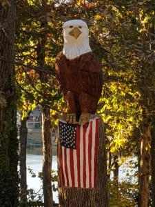 Eagle perched on flag Wood Carved Creations.com 2
