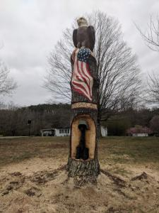 Finished Patriotic themed carving Washington Pike Commission