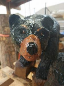 Walking black bear with cub 6