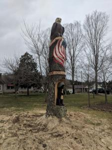 finished Patriotic Themed Carving Washington Pike Commission left side