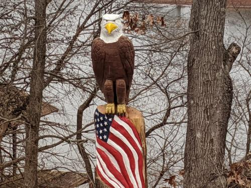 Perched Eagle with Flag Wood Carved Creations.com 4